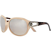 Cream colour block oversized sunglasses