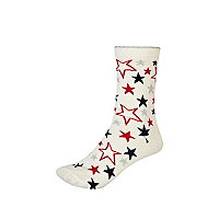 Cream lurex star pattern ankle socks
