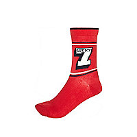 Red lucky 7 novelty ankle socks