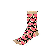 Brown leopard print heart ankle socks