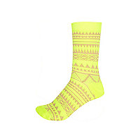 Yellow fluro aztec print ankle socks