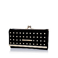 Black gem studded clip top purse