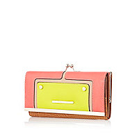 Pink and lime contrast panel clip top purse