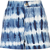 Blue tie dye leather shorts