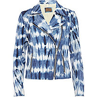 Blue tie dye leather biker jacket