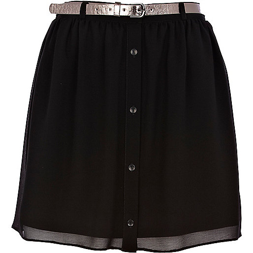 Black button through belted mini skirt