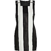 Black leather striped shift dress