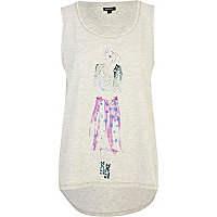 Light beige illustrated girl print tank top