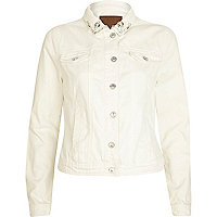 Cream diamante collar denim jacket