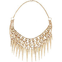 Gold tone spike necklace