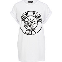 White New York City print oversized t-shirt