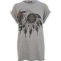 Grey eagle print oversized t-shirt