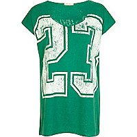 Green 23 print oversized t-shirt
