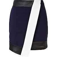 Navy contrast panel wrap mini skirt