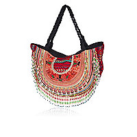 Red embellished curved beach bag