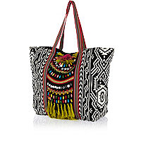 Black tribal print embellished tote bag