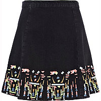 Black fluro embroidered skater skirt