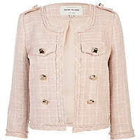 Pink boucle stud cropped military jacket