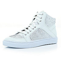 White heatseal panel high tops