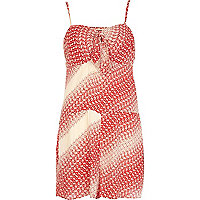 Red Chelsea Girl ditsy print cami playsuit