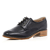 Black perforated lace up shoes