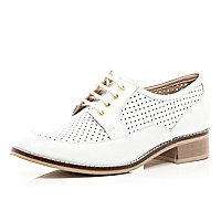 White perforated lace up shoes