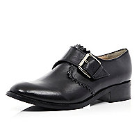 Black cut out edge monk strap shoes
