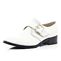 White cut out edge monk strap shoes