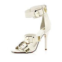 White chunky buckle stiletto sandals