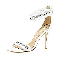 White chain strap barely there sandals