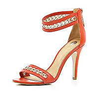 Red chain strap barely there sandals