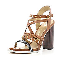 Brown multi strap chunky heel sandals