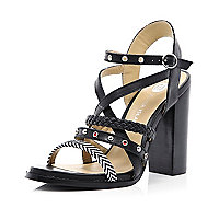Black multi strap chunky heel sandals