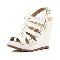 White caged buckle wedges