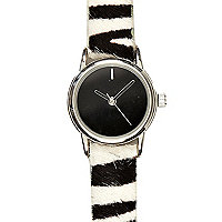 White zebra pony skin watch