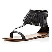 Black fringed cuff sandals
