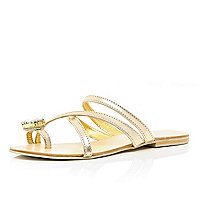 Gold tone jewel embellished toe loop sandals