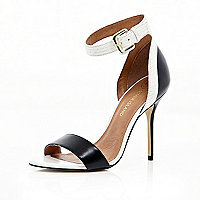 Black and white barely there sandals