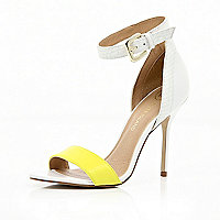White neon strap barely there sandals