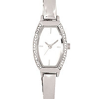 Silver tone diamante bracelet watch