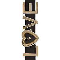 Black and gold tone LOVE watch