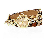 Gold tone leopard print chain wrap watch