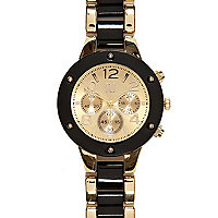 Black and gold tone bracelet watch
