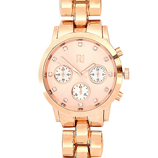 Rose gold tone oversized metal bracelet watch