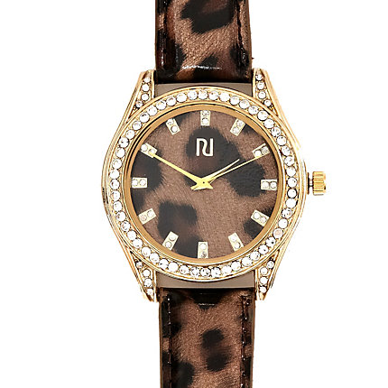 Black leopard print diamante watch