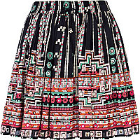 Black aztec print mirror embellished skirt