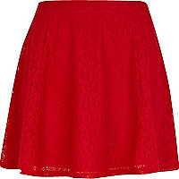 Red lace skater skirt