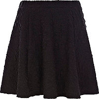 Black jacquard skater skirt