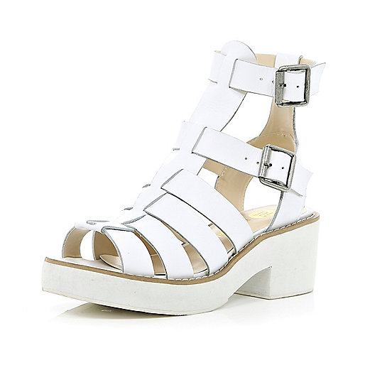 White block heel gladiator sandals