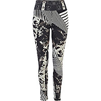 Black and white mixed print leggings